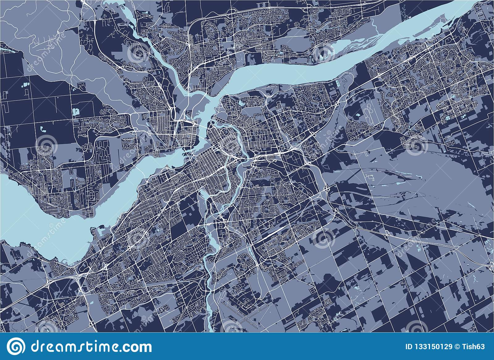 Onterio Canada Map.Map Of The City Of Ottawa Ontario Canada Stock Illustration