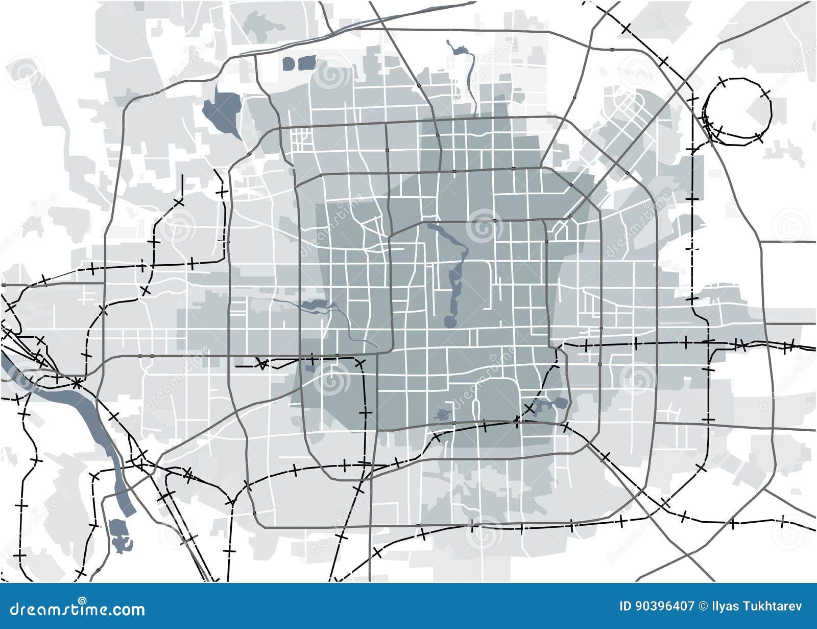 Map Of The City Of Peking China Stock Illustration Illustration