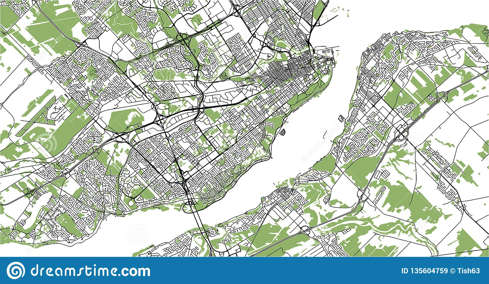 Map Of Canada Quebec City.Map Of The City Of Quebec Canada Stock Illustration Illustration