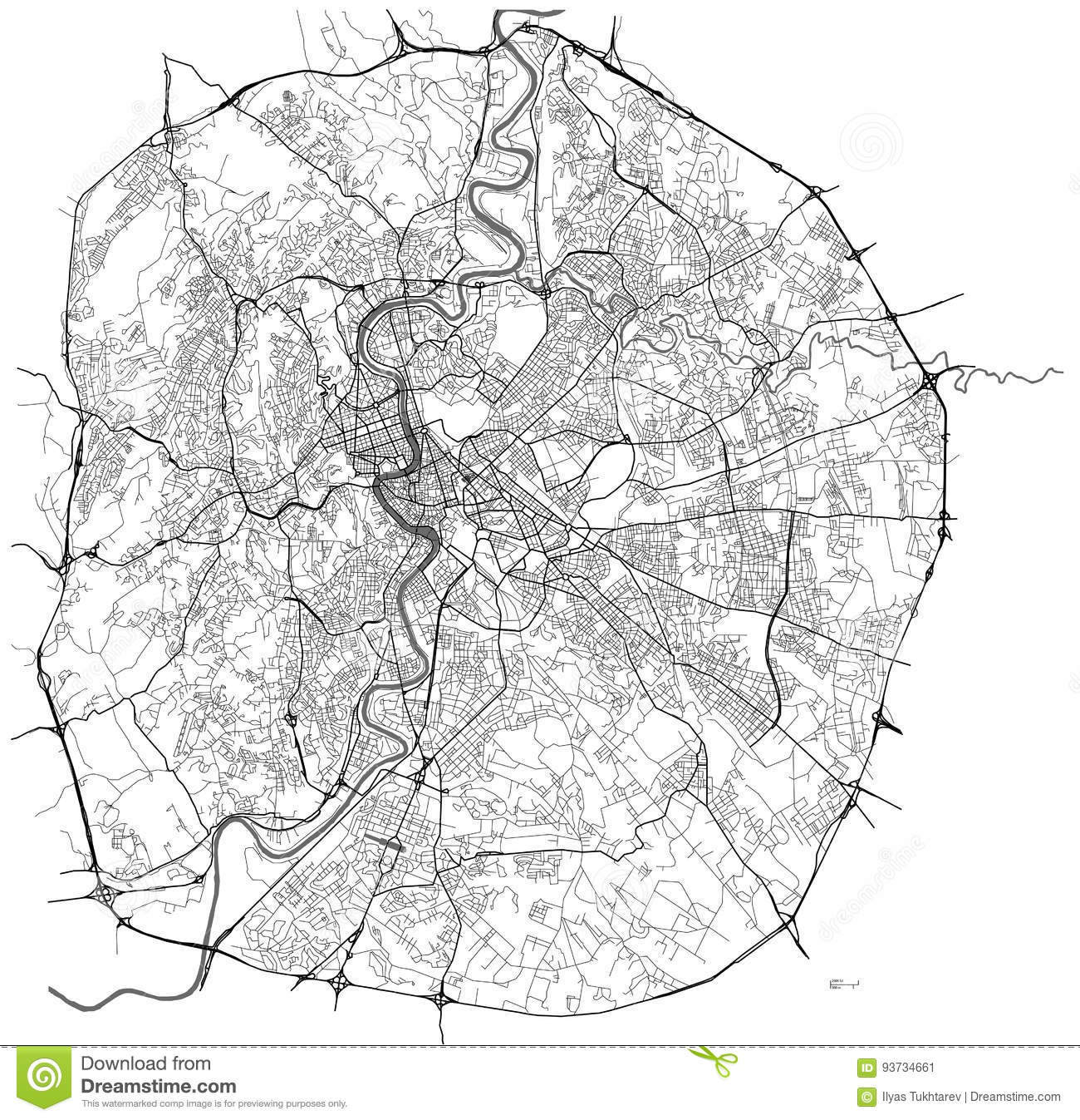 Rome On Map Of Italy.Map Of The City Of Rome Italy Stock Illustration Illustration Of