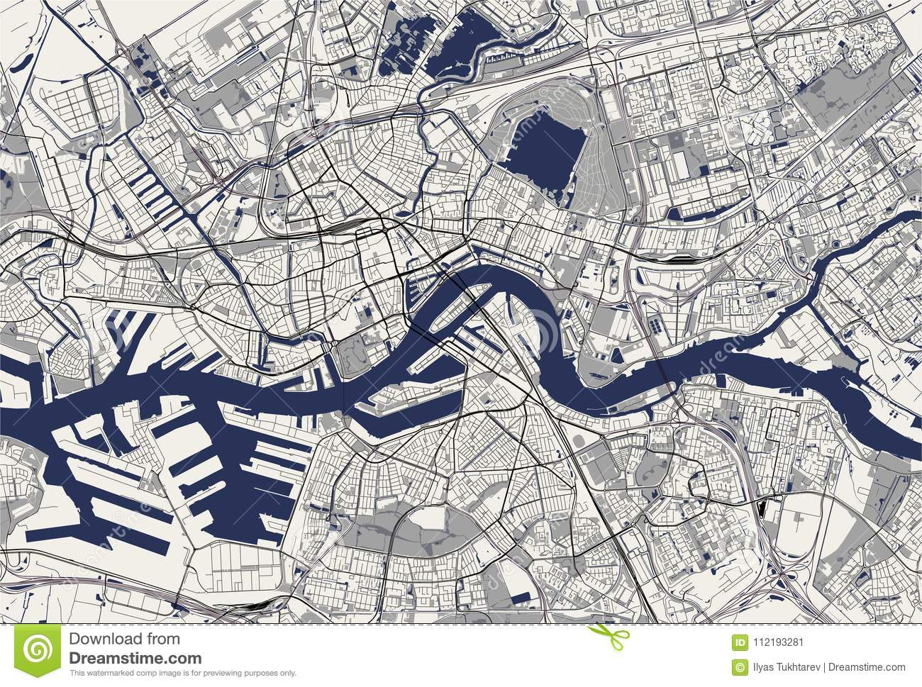 Map Of The City Of Rotterdam, In South Holland, Netherlands Stock ...
