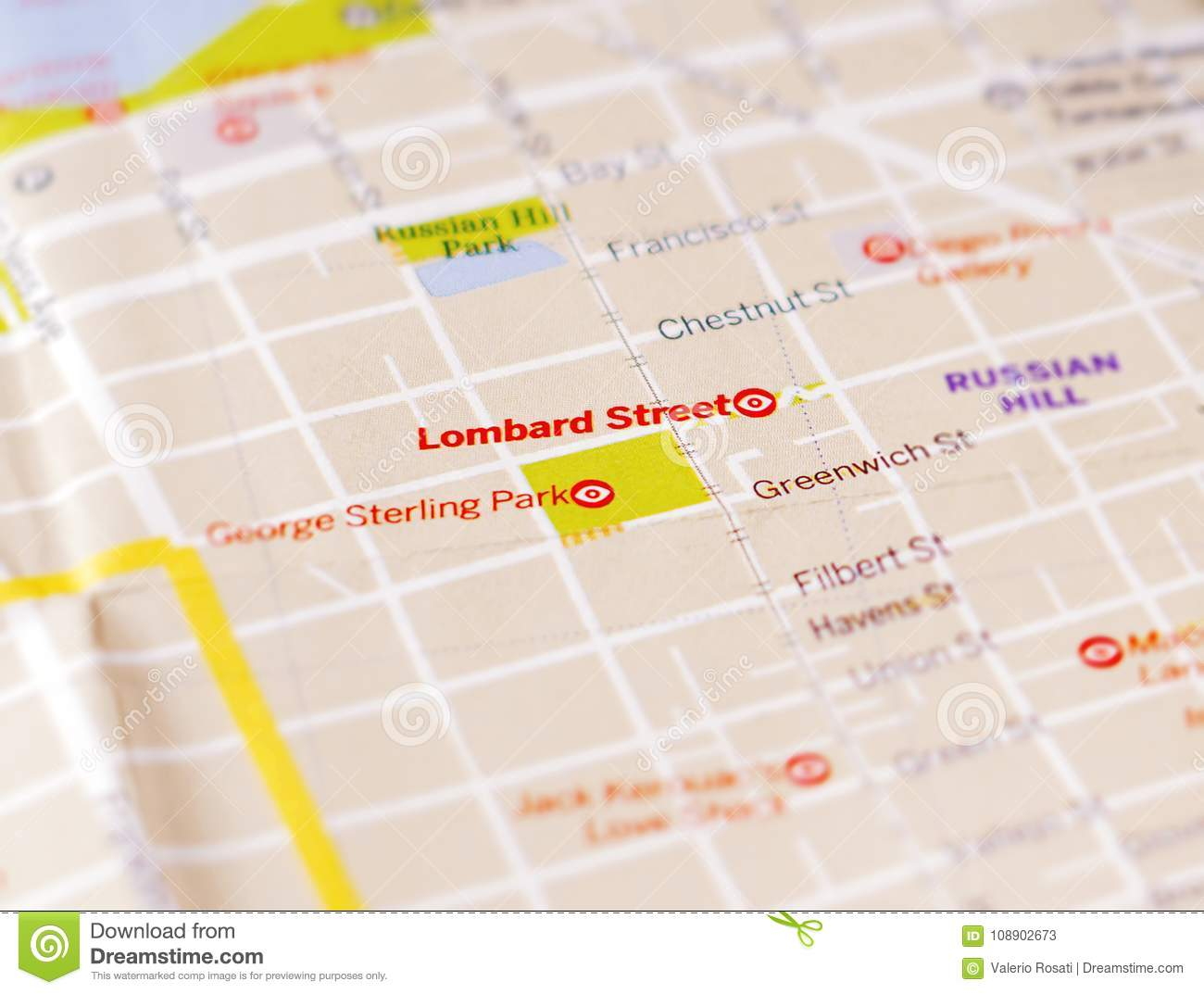 Map Of The City Of San Francisco Focused On Lombard Street Stock ...