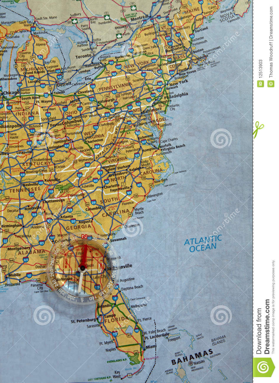 Picture of: Map And Compass Stock Image Image Of Direction Eastern 12513903