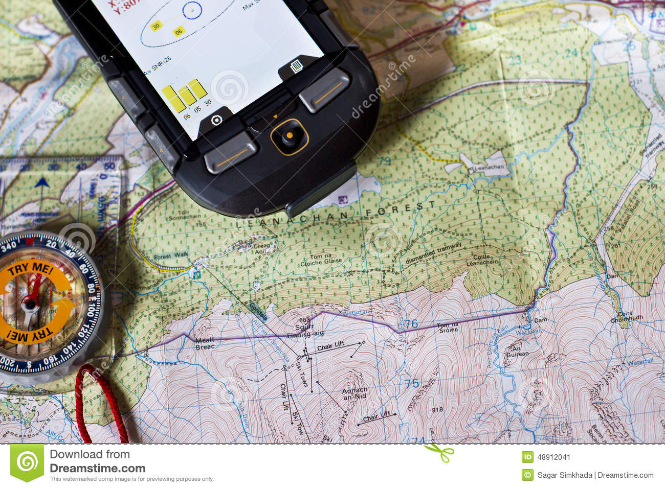 Paper Map, Compass and GPS stock image  Image of terrains - 48912041