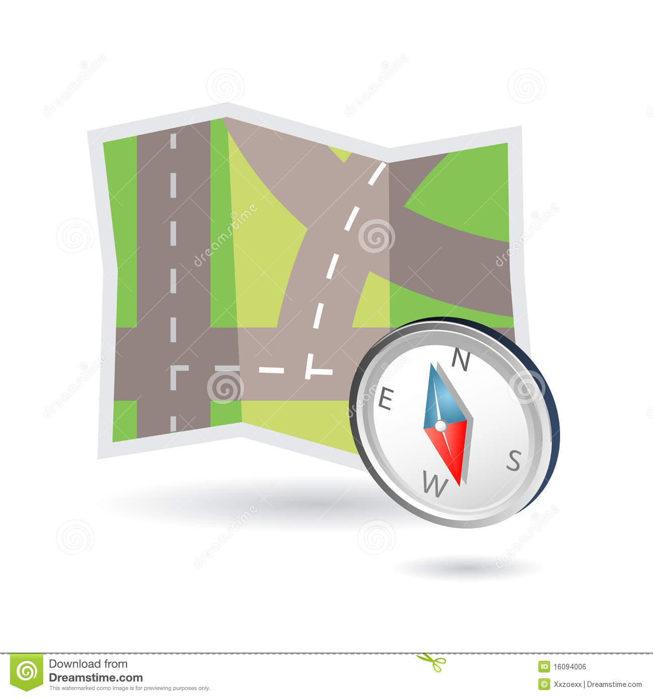 Map and compass icon stock vector  Illustration of drive - 16094006