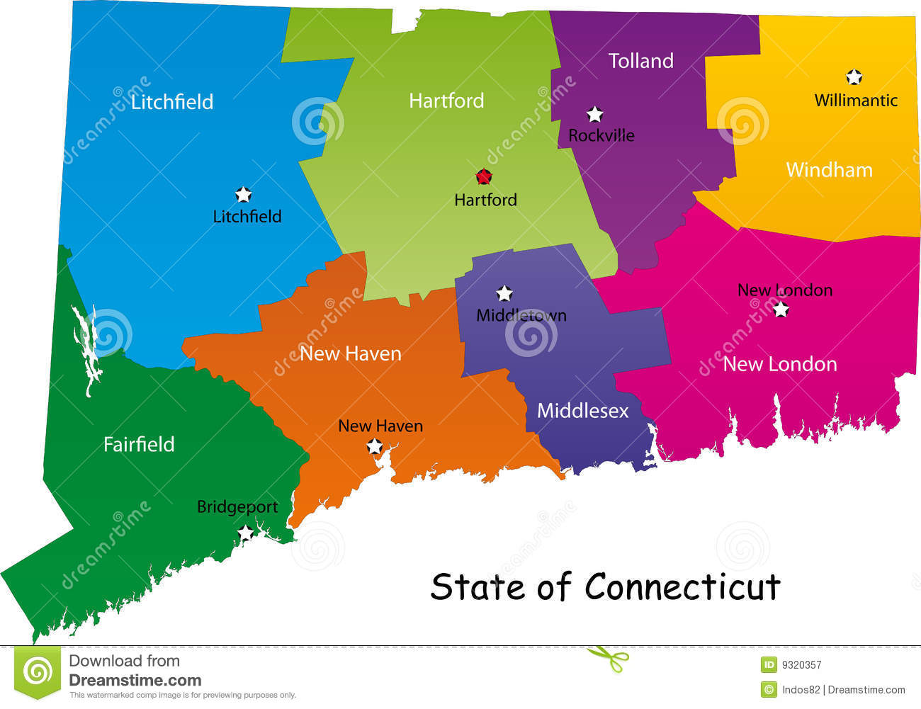 Map Of Connecticut State Royalty Free Stock Photography