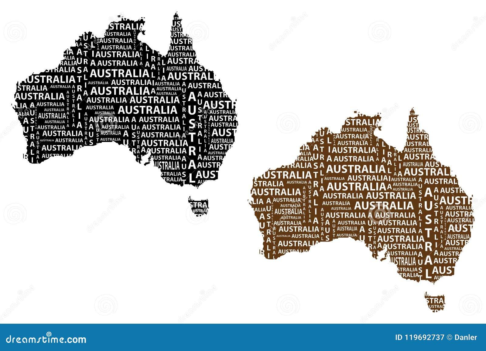 Australia Map Shape.Map Of Continent Australia Vector Illustration Stock Vector