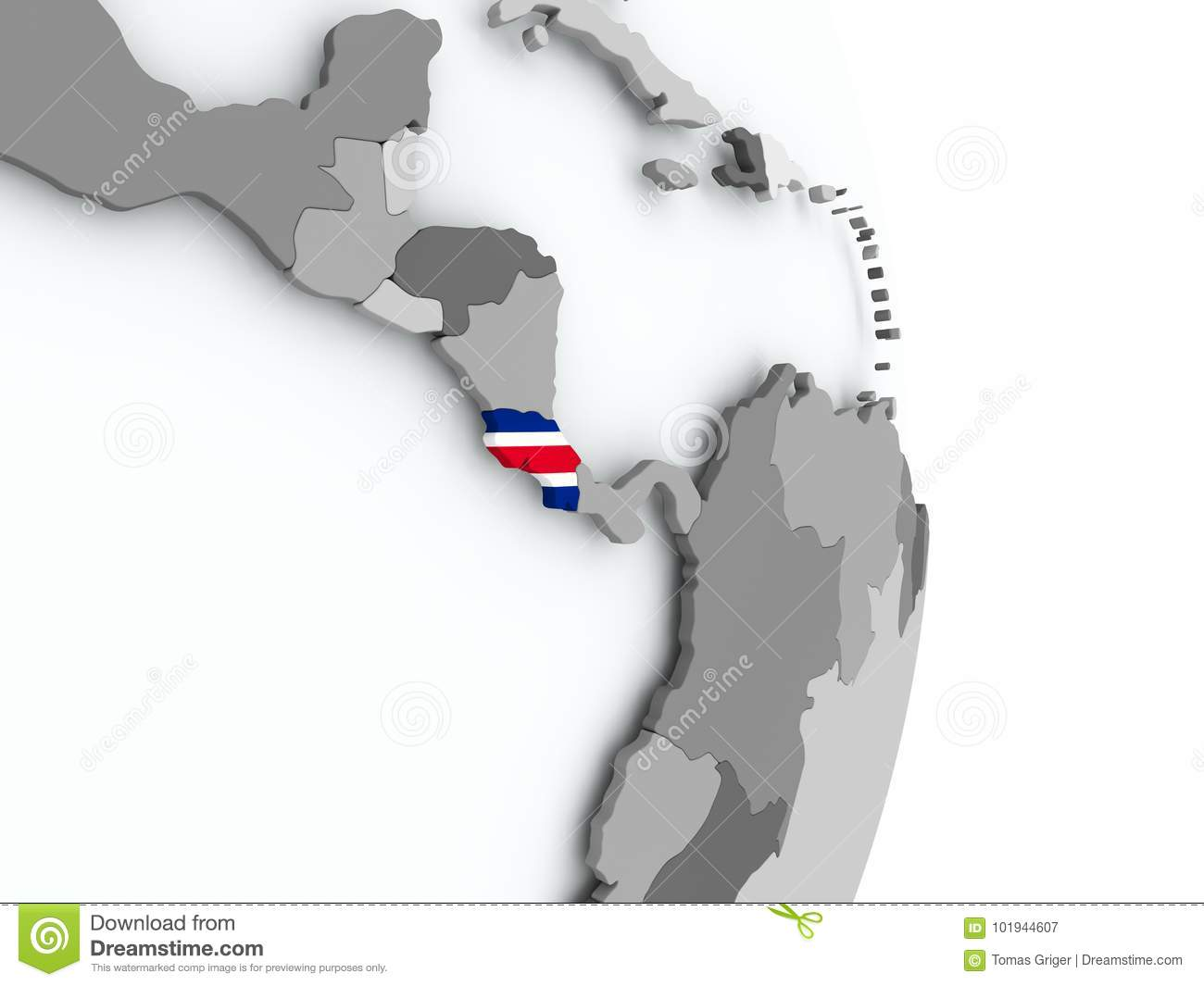 Map Costa Rica With Flag Stock Illustration Illustration of