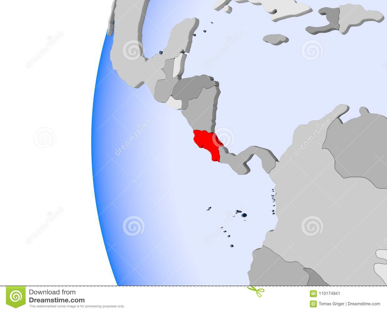 Map Costa Rica Political Globe Stock Illustration