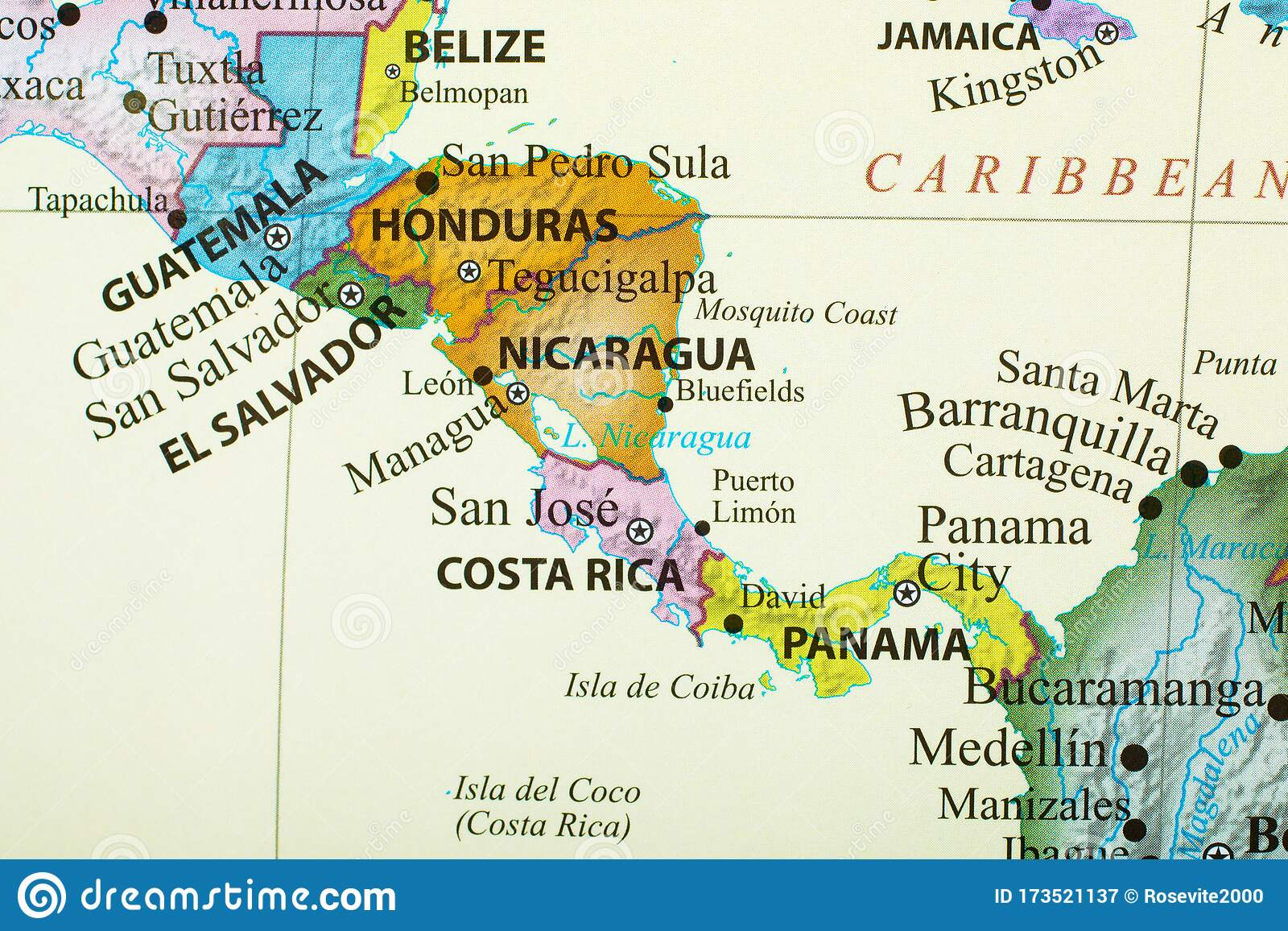 Map Of Countries In Central America Stock Image Image Of City Rica 173521137