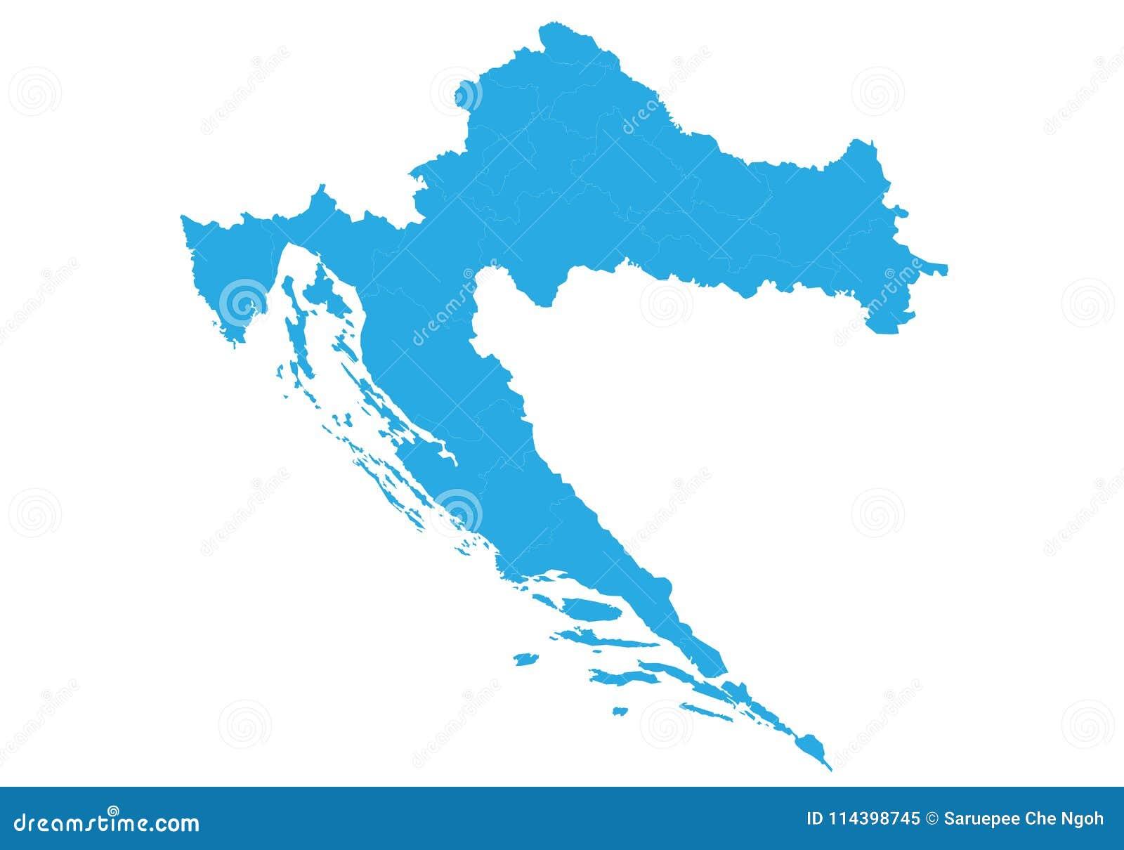 Map Of Croatia. High Detailed Vector Map - Croatia. Stock Vector ...