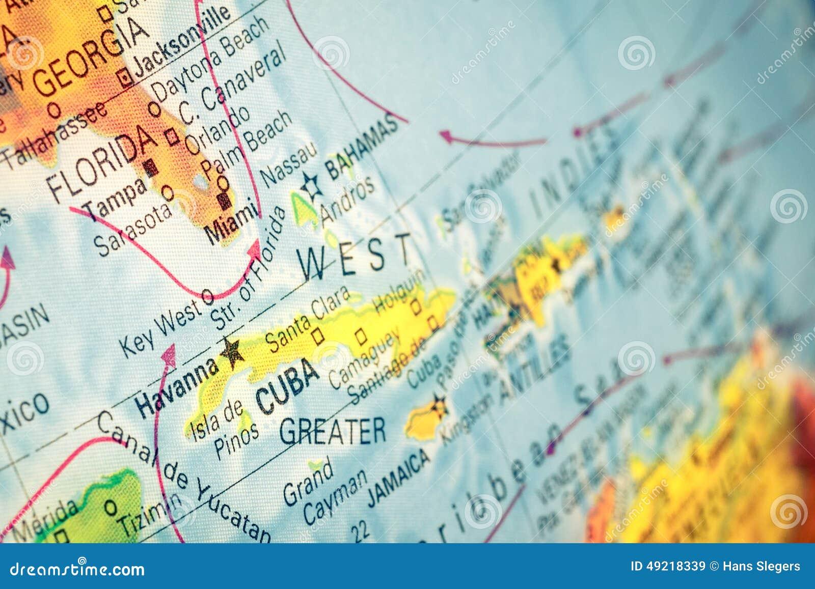 Cuba To Florida Map.Map Of Cuba And Florida Macro Image Stock Image Image Of