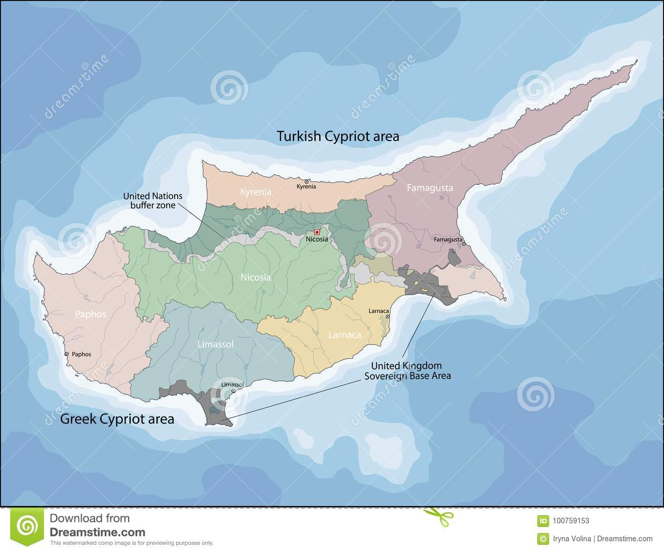 Map of cyprus stock vector illustration of kyrenia 100759153 map of cyprus gumiabroncs Images