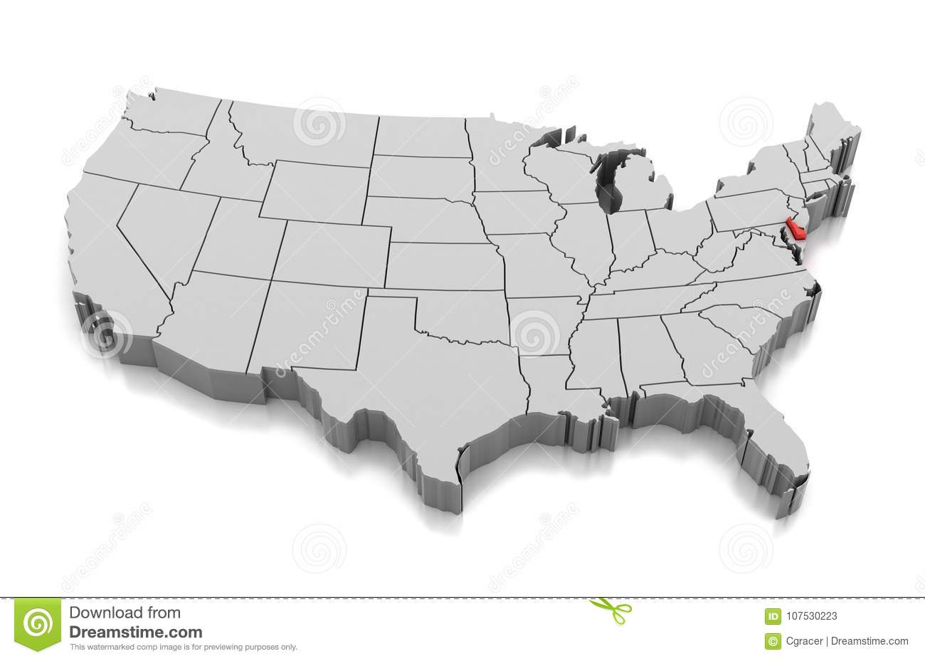 Map of Delaware state, USA stock illustration. Illustration of shape Delaware On Usa Map on