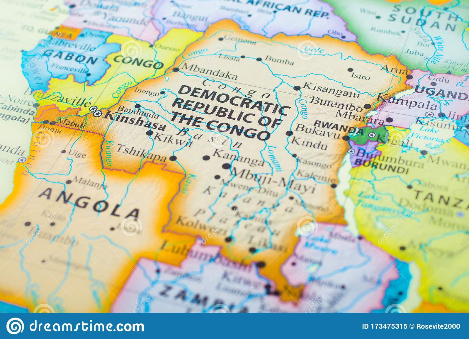 Picture of: Map Of Democratic Republic Of The Congo Stock Image Image Of Africa African 173475315