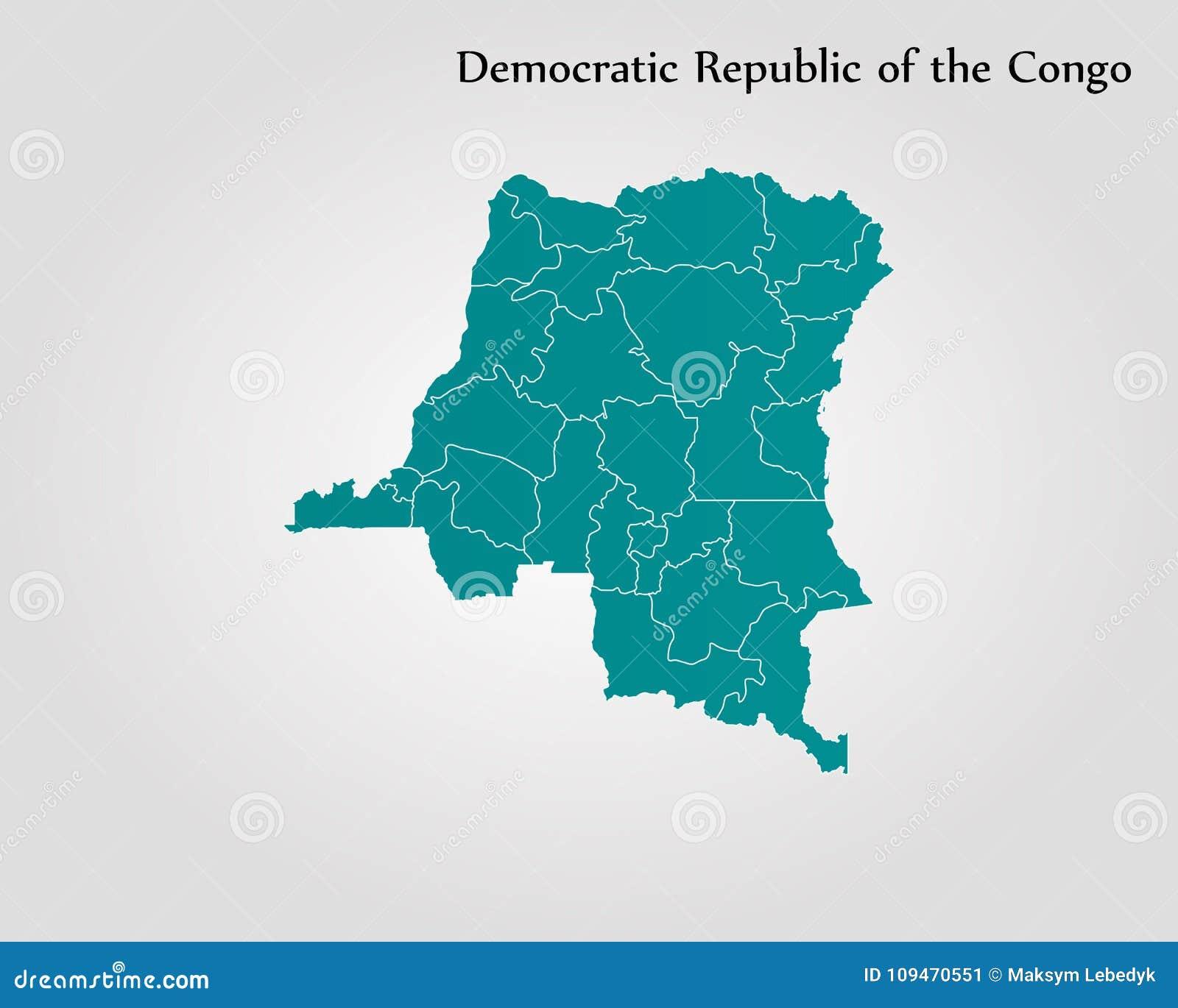 Map Of Democratic Republic Of The Congo Stock Illustration ...