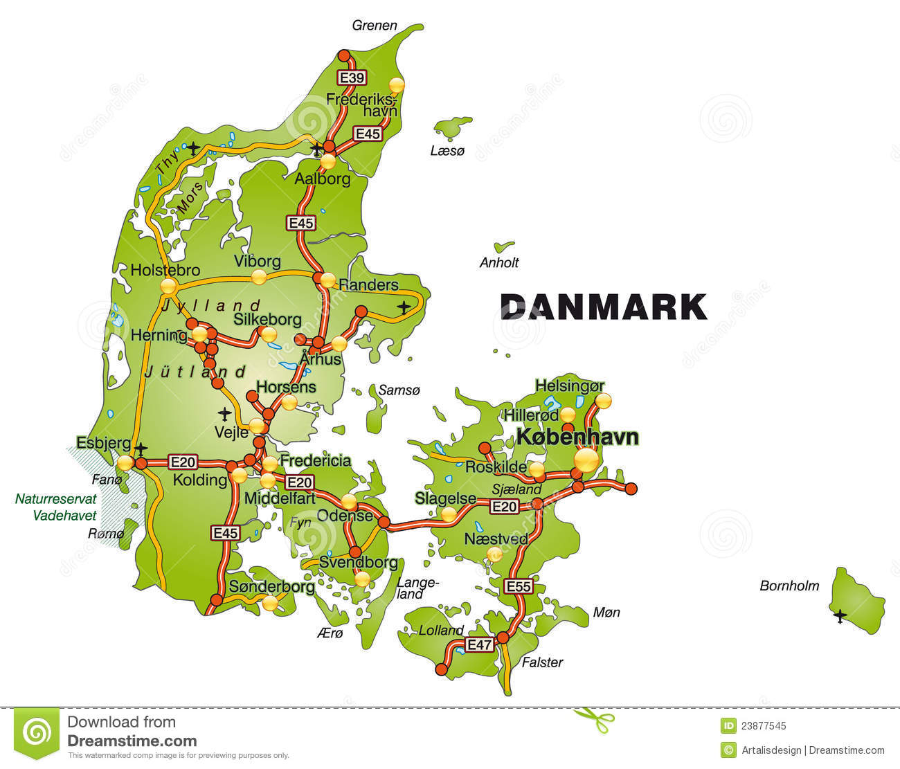 Map Of Denmark With Highways Royalty Free Stock Photo - Image ...