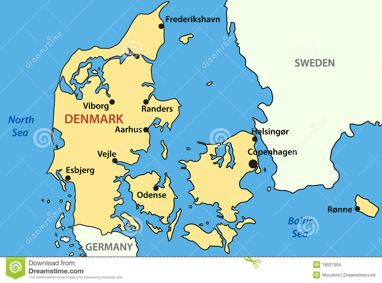 Map Of Denmark - Vector Stock Images - Image: 19027904 MAP OF DENMARK