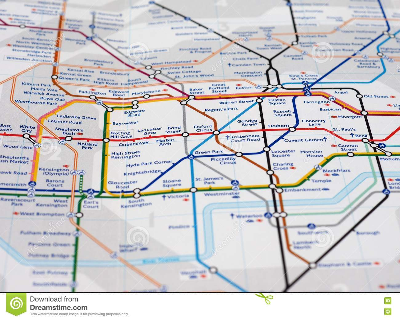 London Subway Map Russell Station.Map Detail With Selective Focus Editorial Image Image Of Town