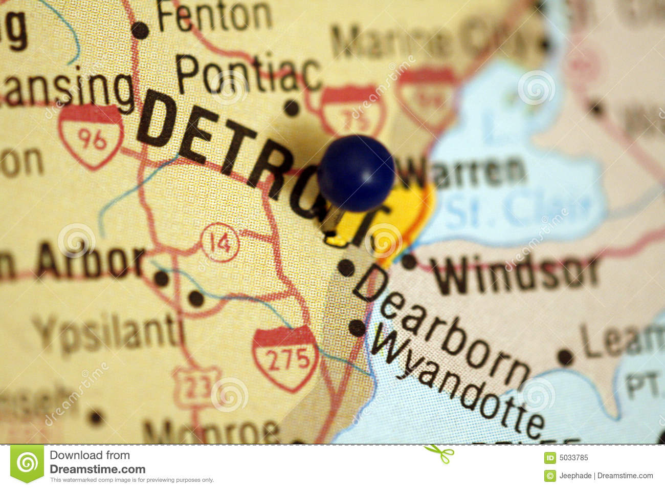 Map of Detroit Michigan stock image. Image of selective - 5033785
