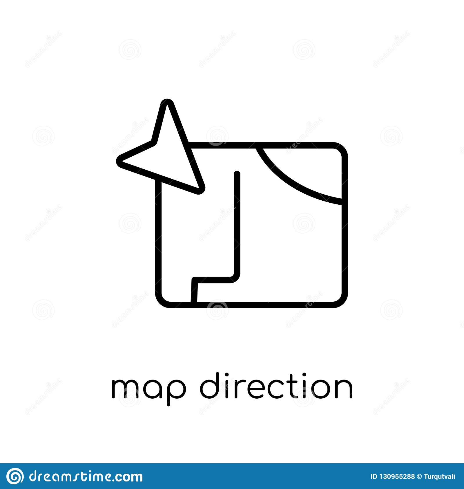 Map Direction Icon. Trendy Modern Flat Linear Vector Map Direction on links icon, mapquest desktop icon, schedule icon, contact icon, emergency desktop icon, map directional arrows, about us icon, maps app icon, data mapping icon, right icon, apple maps icon, map icons clip art, private party icon,
