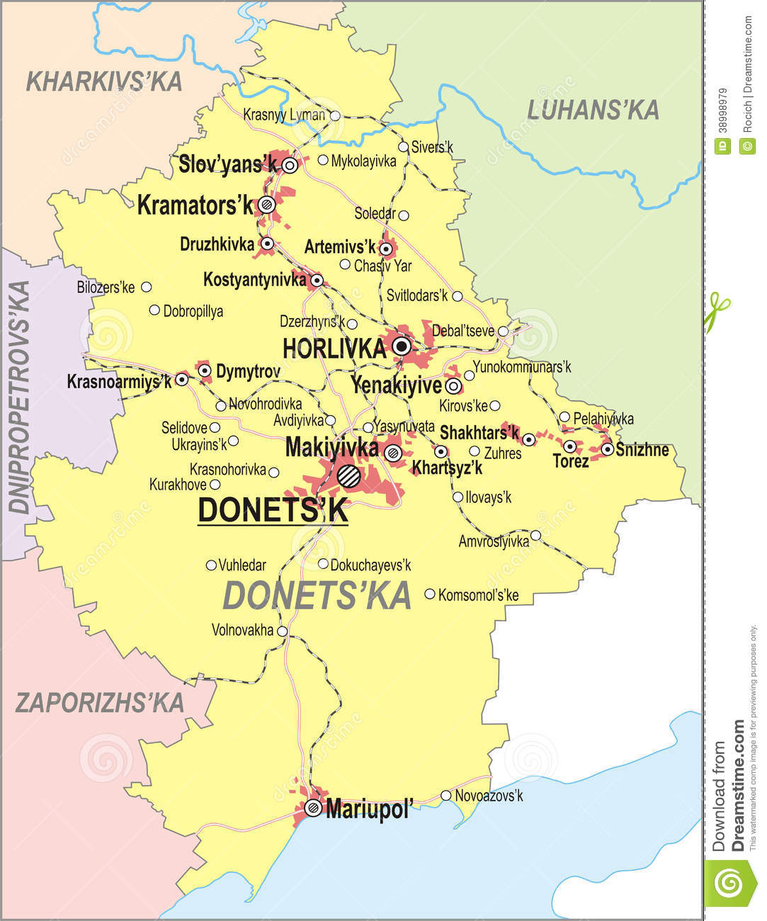 Map Of Donetsk Oblast Stock Vector - Image: 38998979
