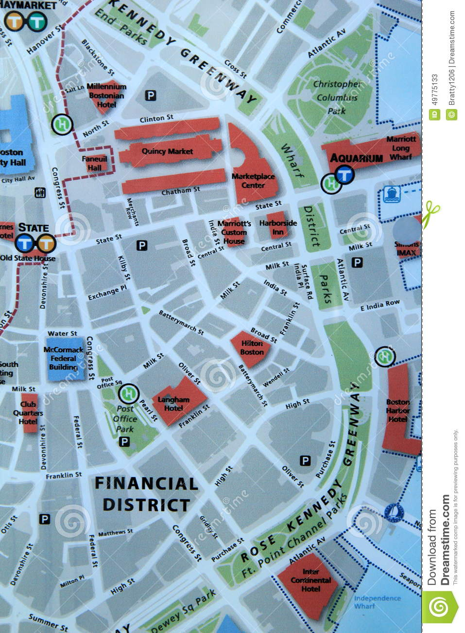 Map of downtown Boston stock image. Image of safety, detail ...
