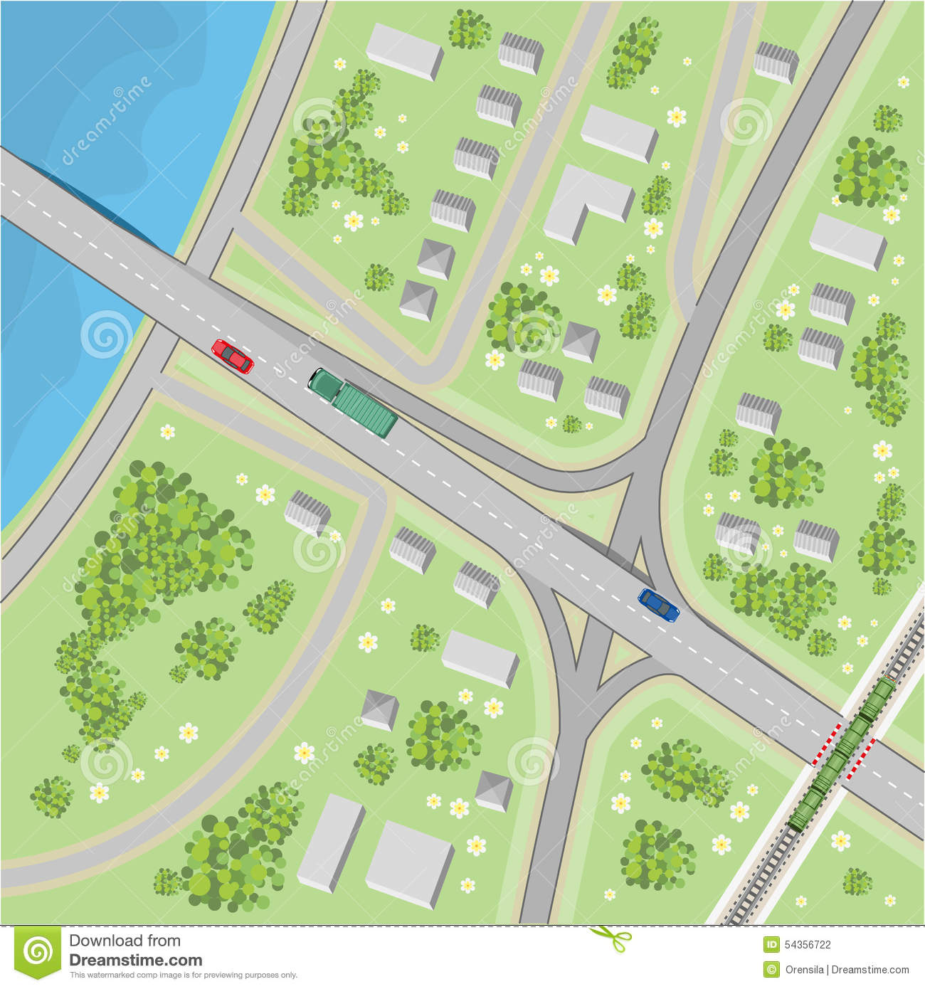 The Map With Driving Directions Top View Vector Image – Maps Directions Driving