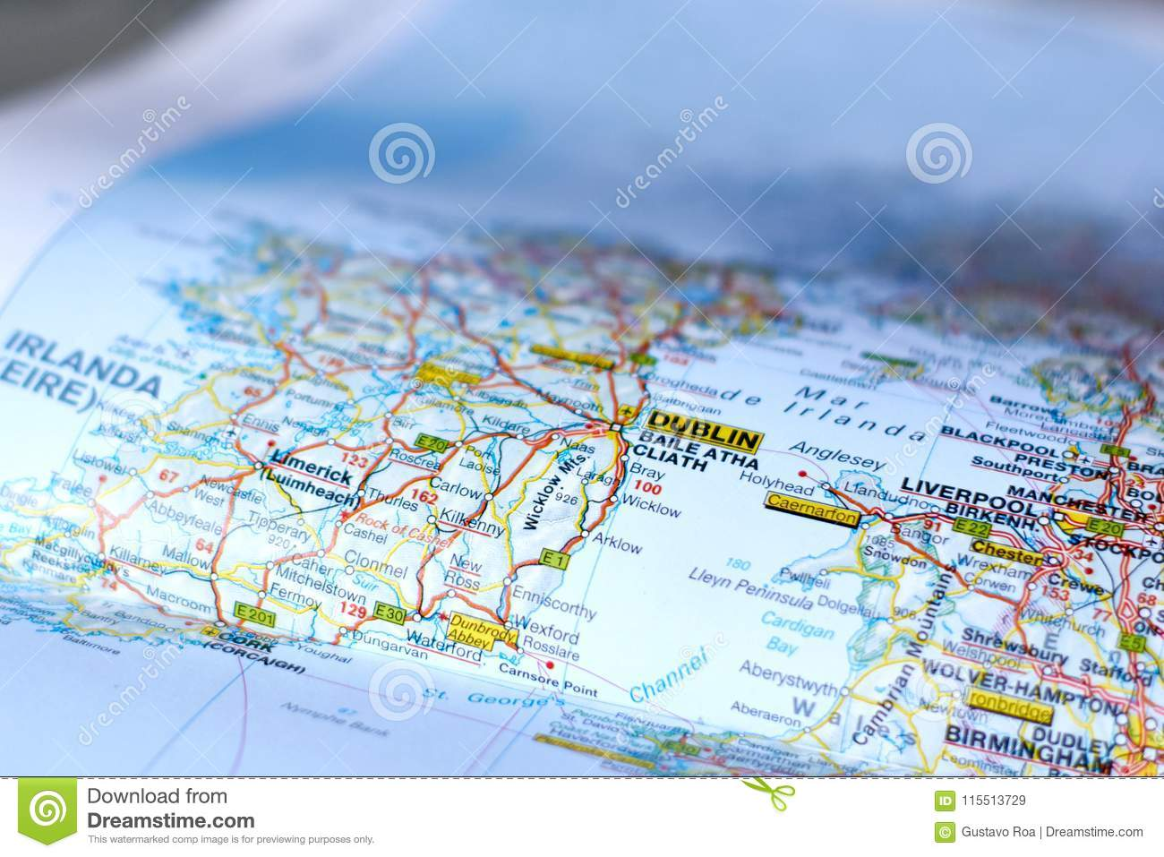 Map Of Ireland Near Dublin.Map Of Dublin Stock Image Image Of Guide Travel Cities 115513729