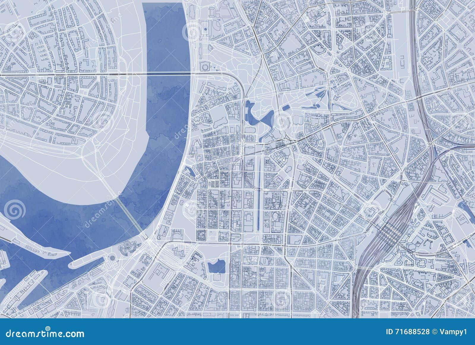 Map of Dusseldorf satellite view hand drawn