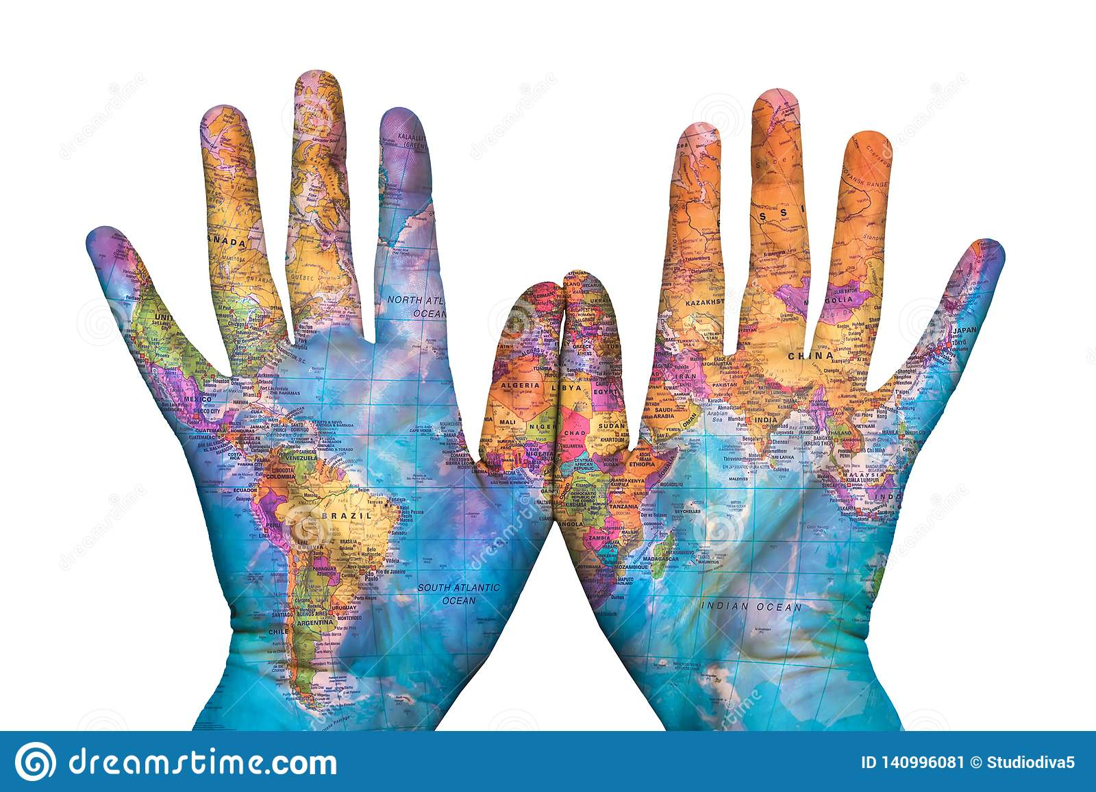 The map of the earth on his hands