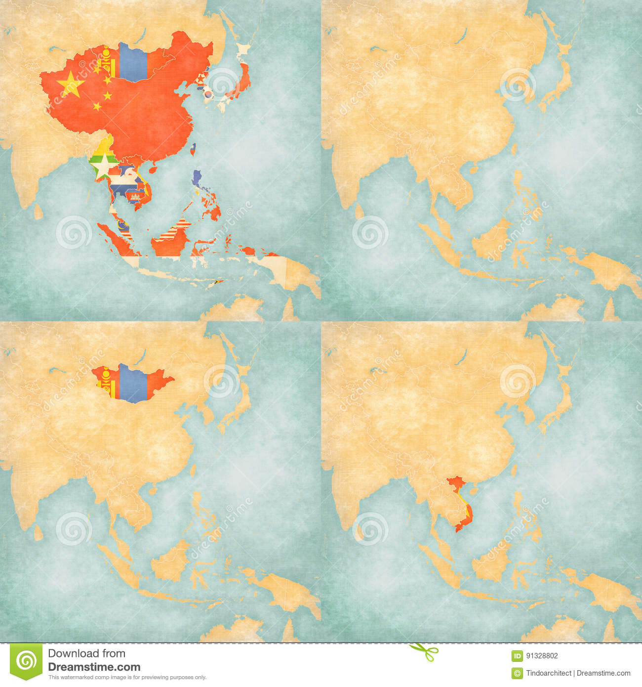 Blank Map Of East And Southeast Asia.Map Of East Asia Blank Map All Countries Mongolia And Vietnam