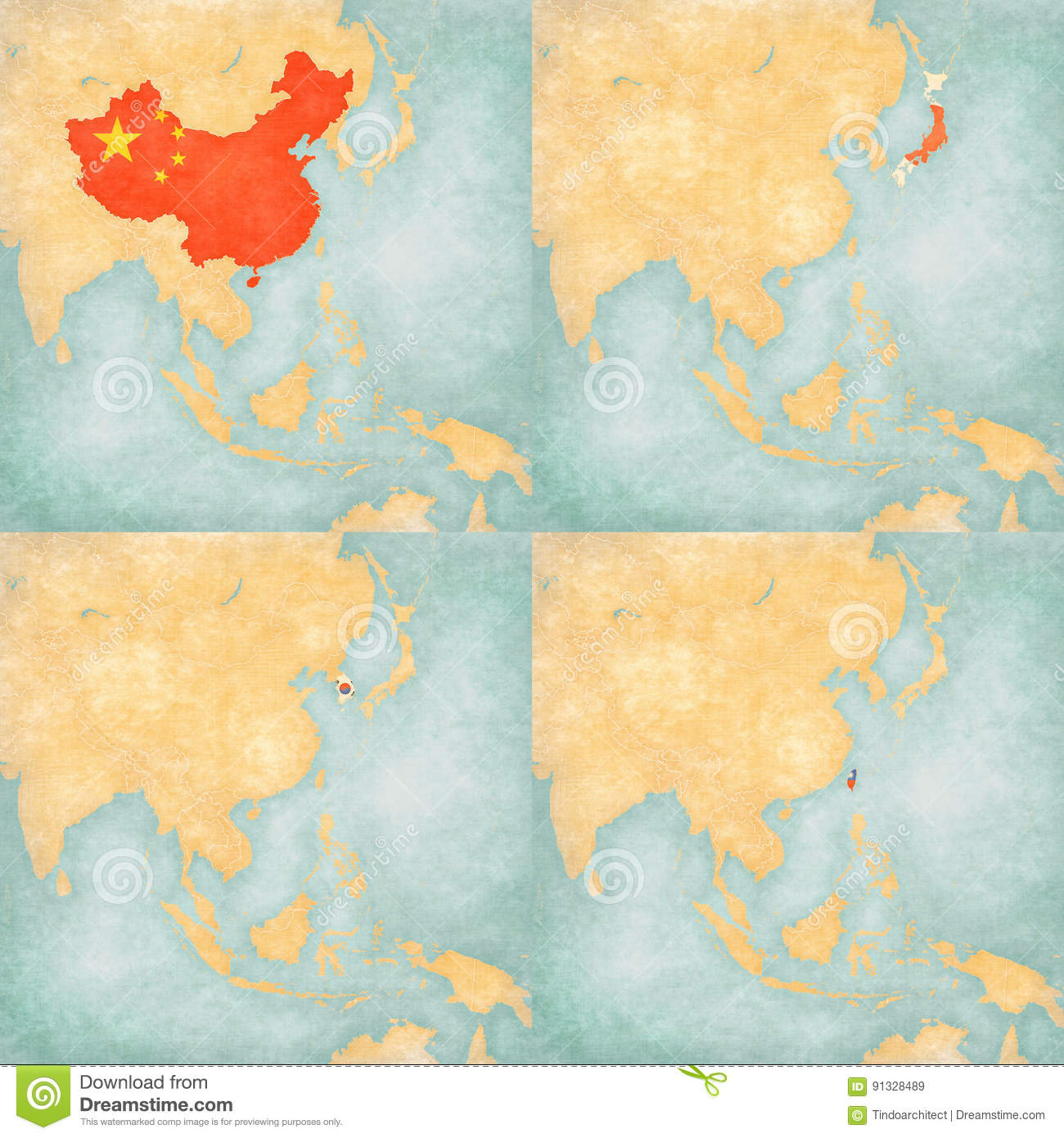 A Map Of East Asia.Map Of East Asia China Japan South Korea And Taiwan Stock