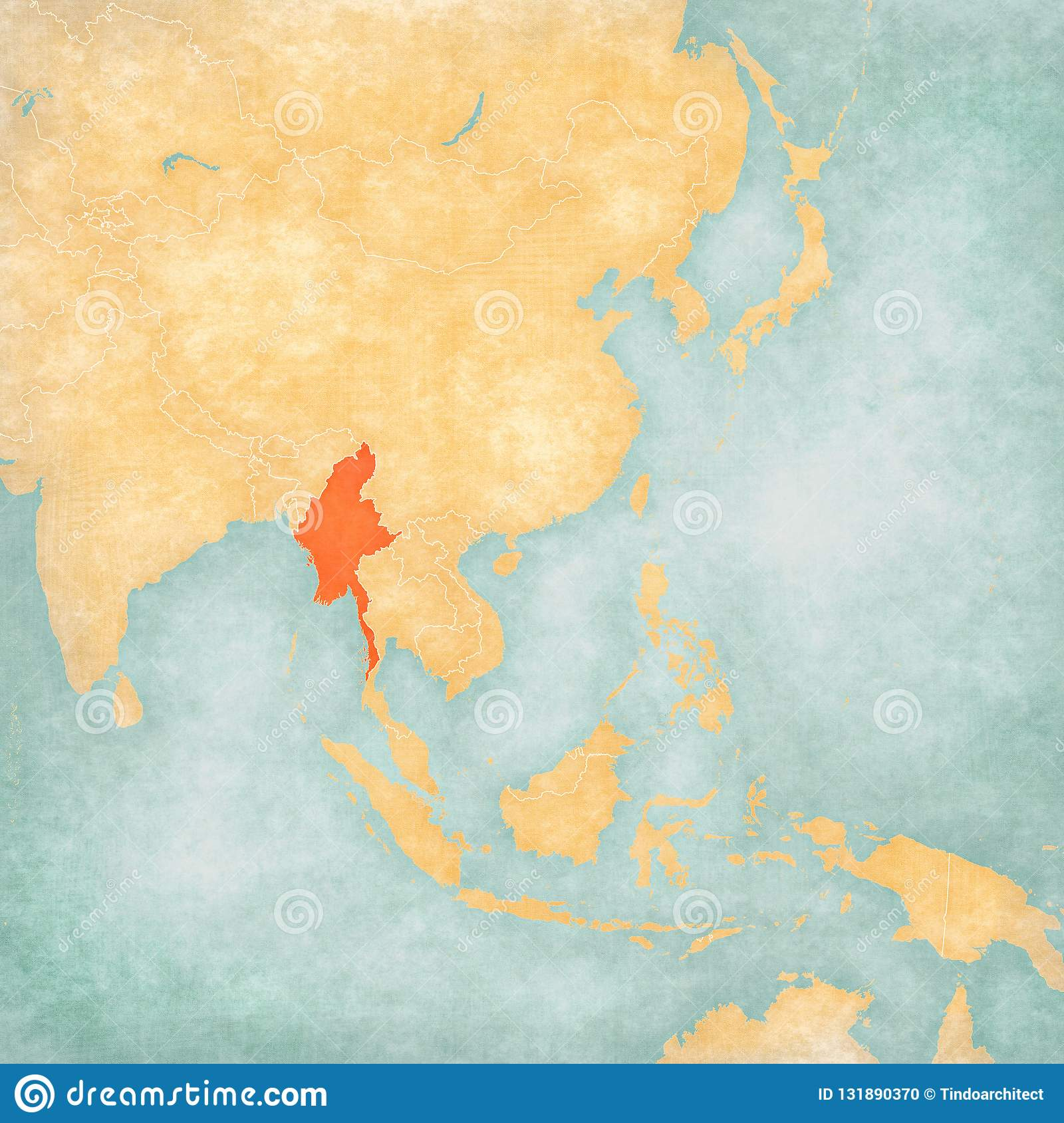 Myanmar On Map Of Asia.Map Of East Asia Myanmar Stock Illustration Illustration Of