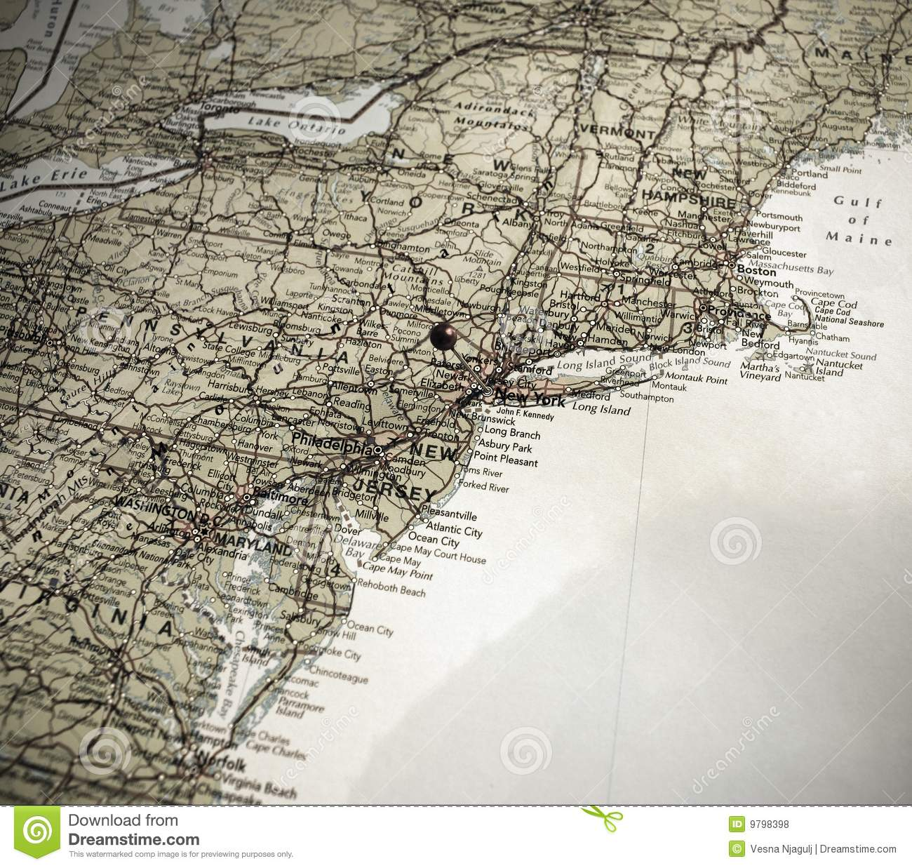 Usa Map East Coast Stock Photos - Royalty Free Pictures