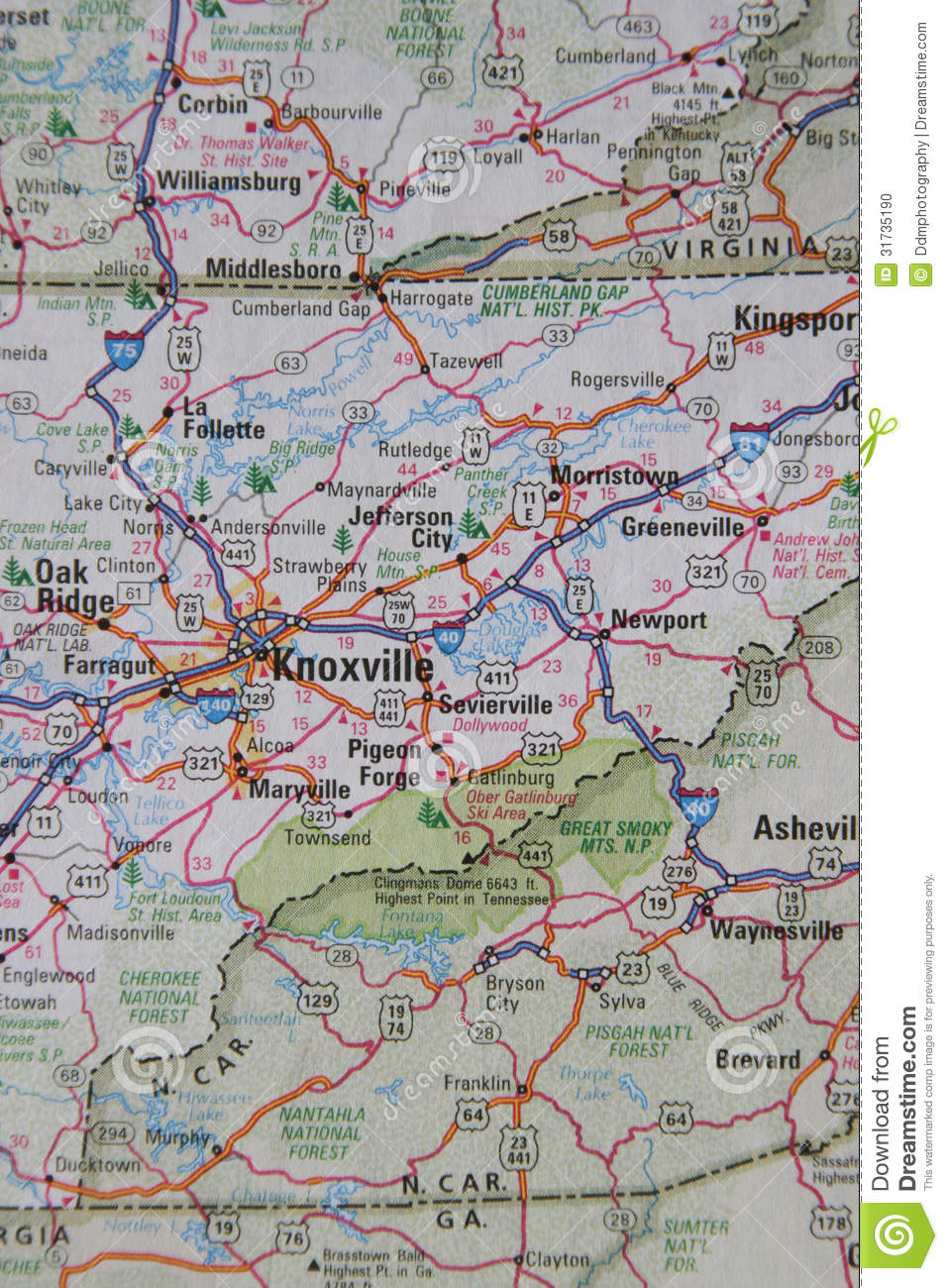 Map Of East TN West North Carolina Stock Photo Image - Map of east tn