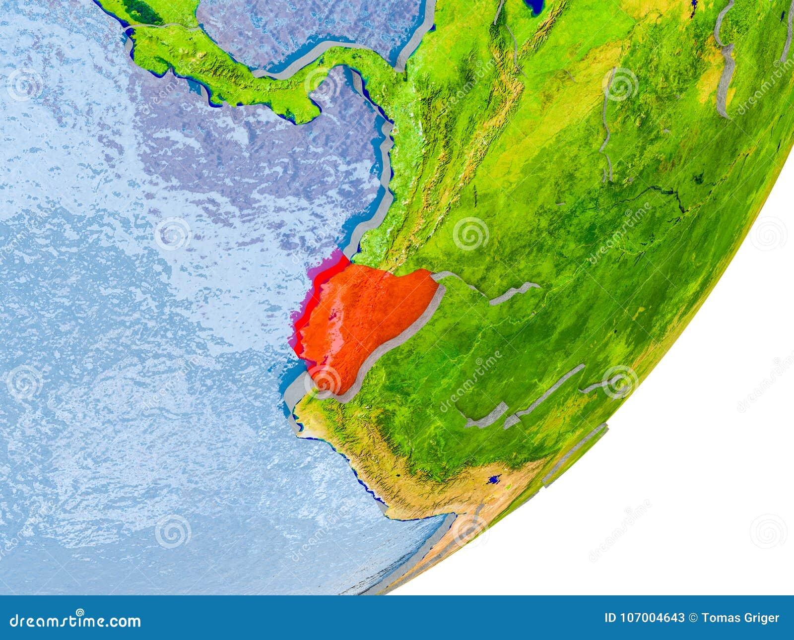 Map Of Ecuador On Earth Stock Image Image Of Globe 107004643