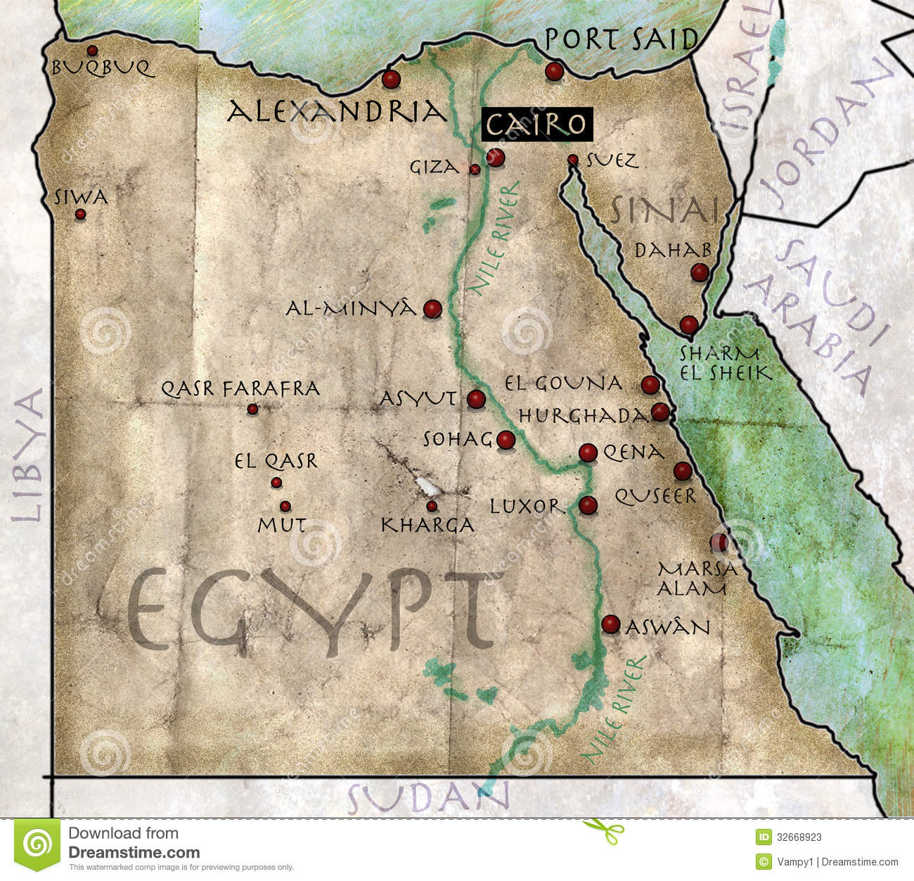 Map Of Egypt Stock Photos Image - Vintage map of egypt