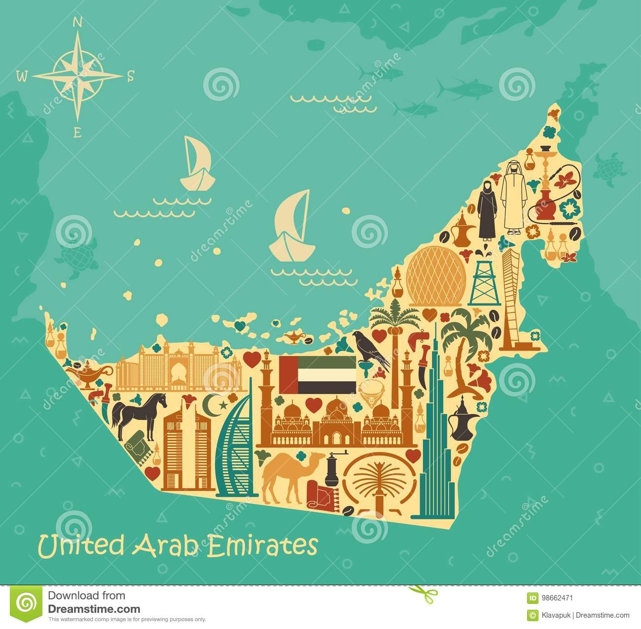 Map Of United Arab Emirates Consisting Of The Traditional Symbols Of