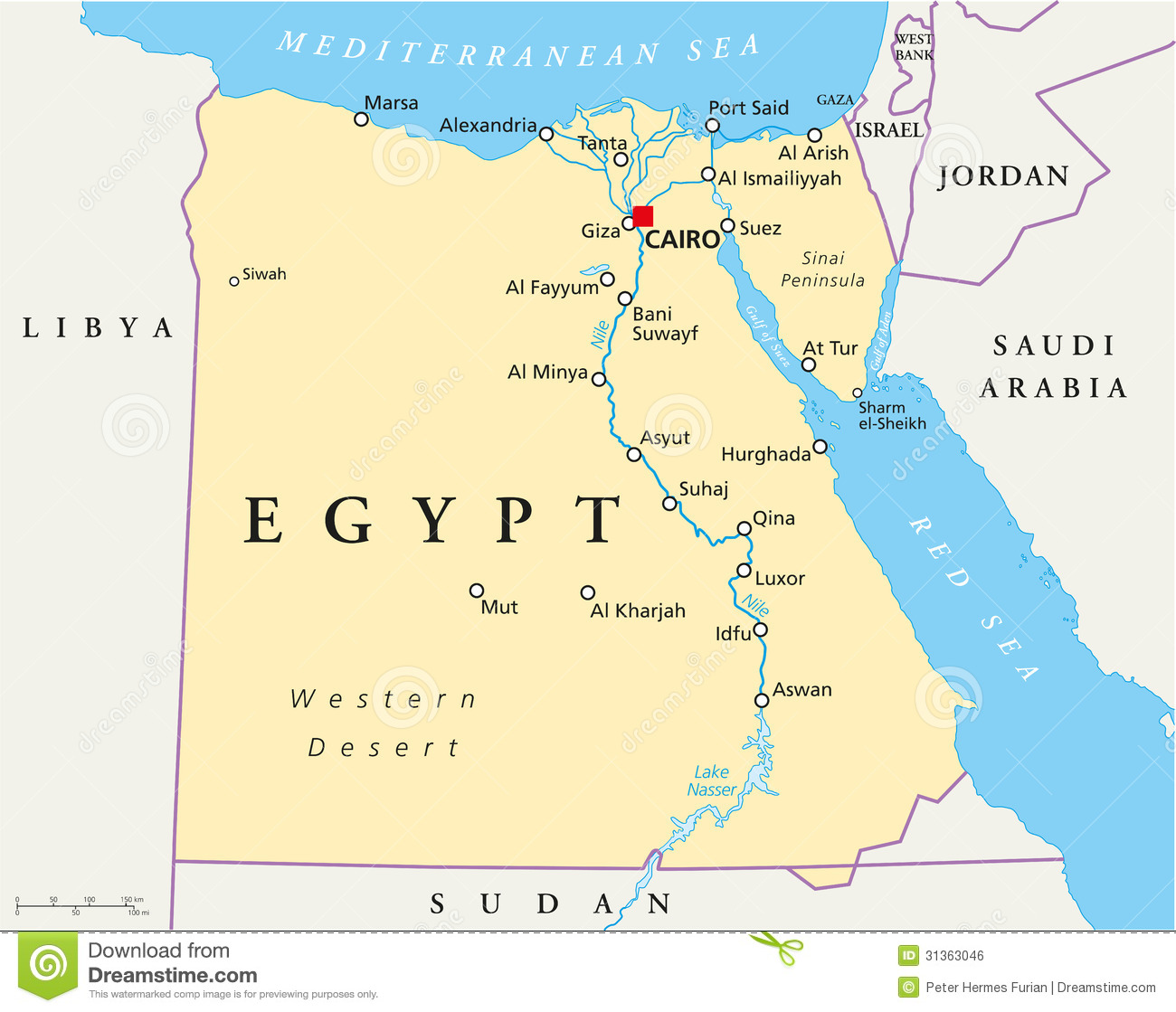 Map Of Egypt Royalty Free Stock Image - Image: 31363046