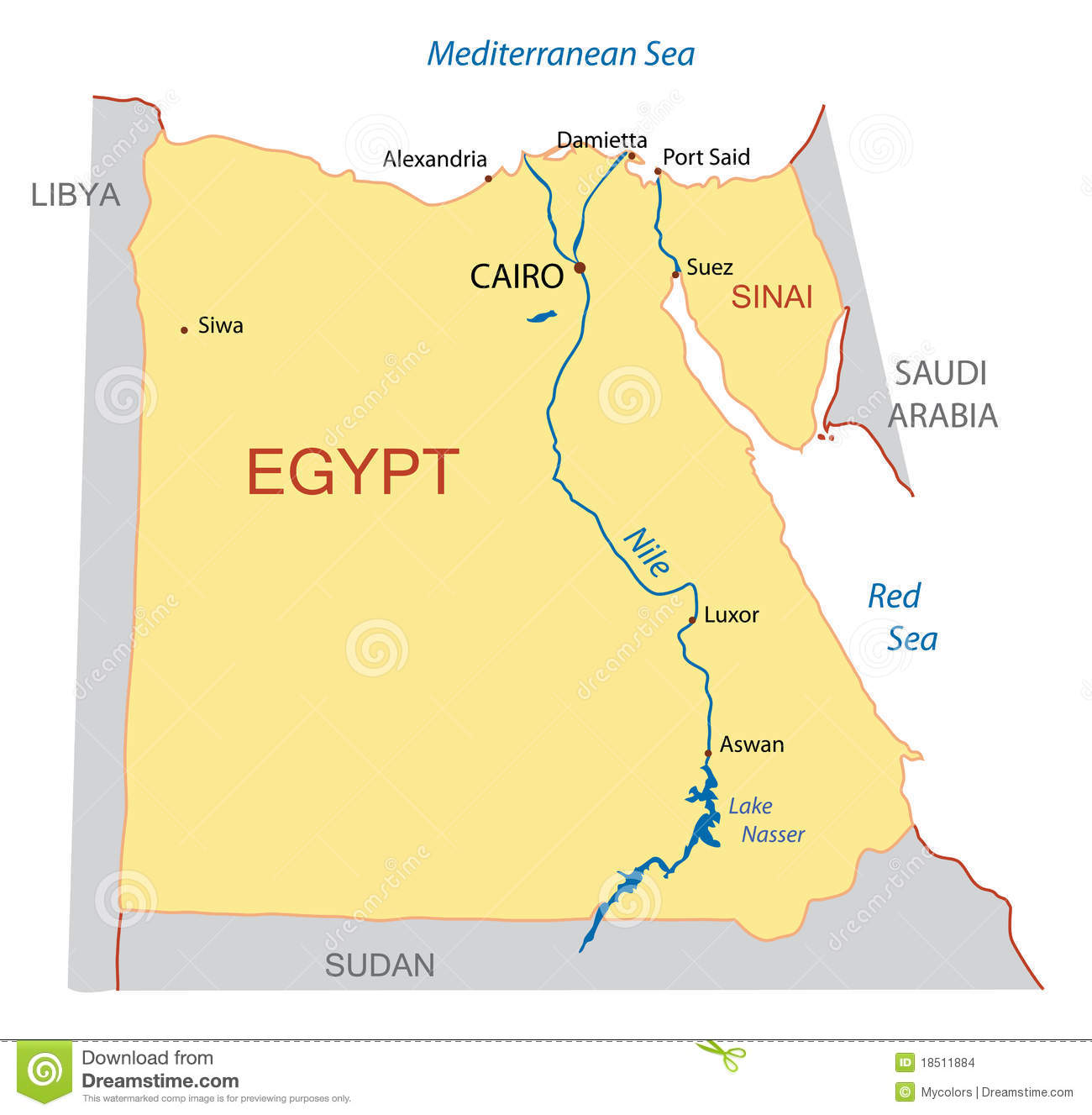 Map Of Egypt Vector Stock Images Image - Map of egypt vector