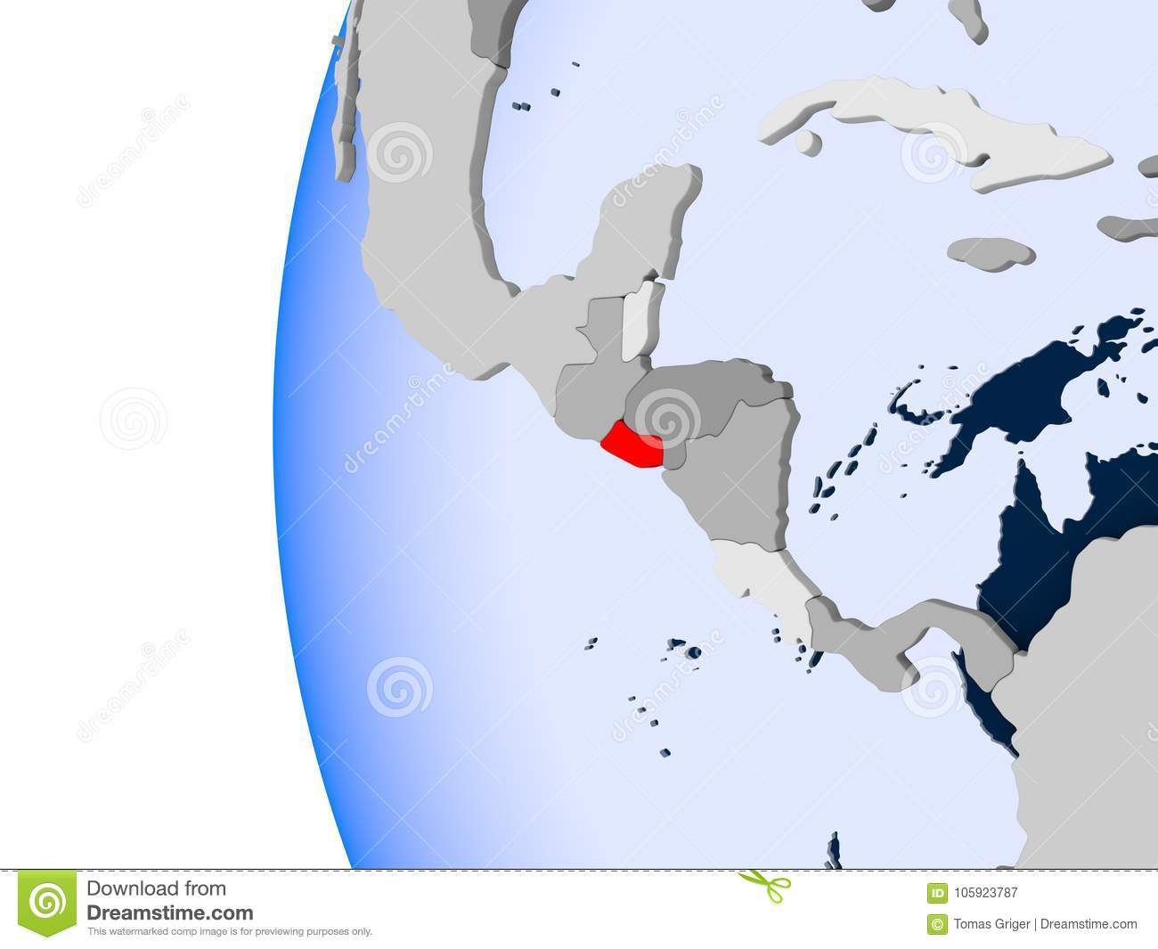 Map El Salvador Political Globe Stock Illustration