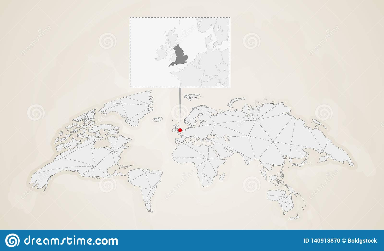 Map Of England Countries.Map Of England With Neighbor Countries Pinned On World Map Stock