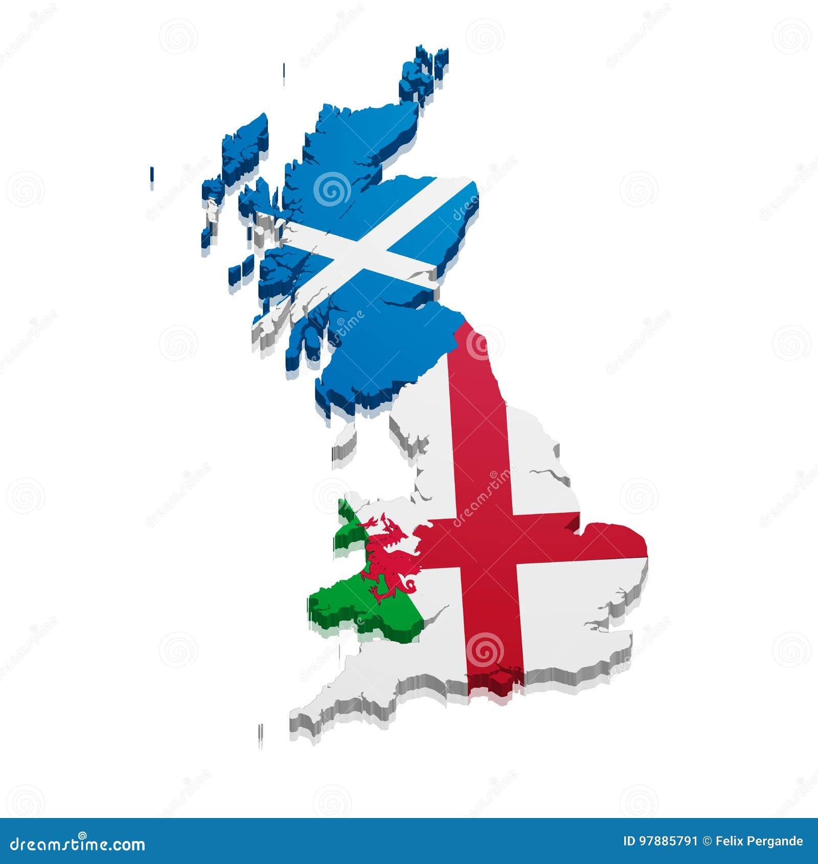 Map England Scotland Wales Stock Illustration Illustration Of