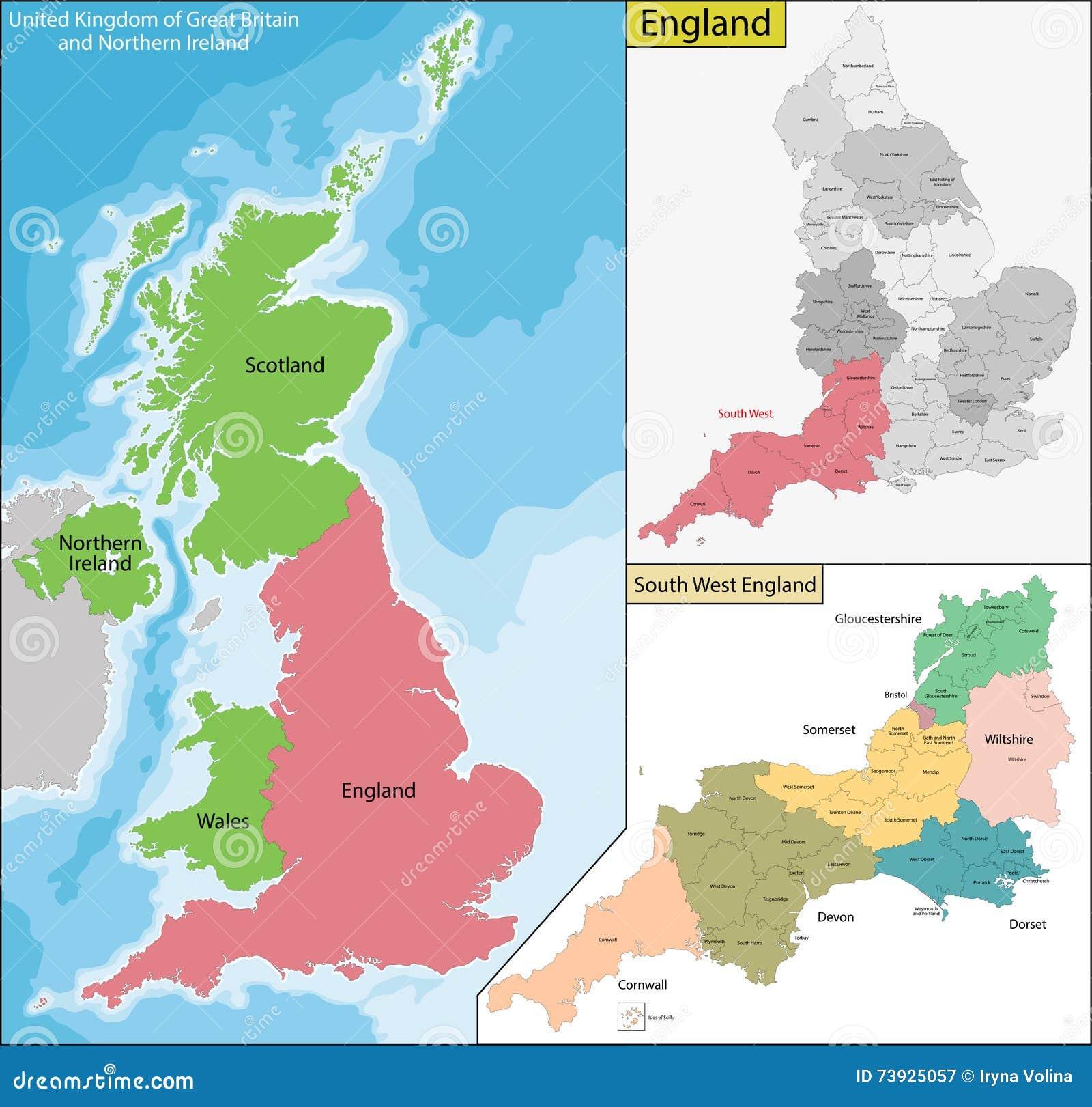 Map Of England Scotland.Map Of England Stock Vector Illustration Of Scotland 73925057