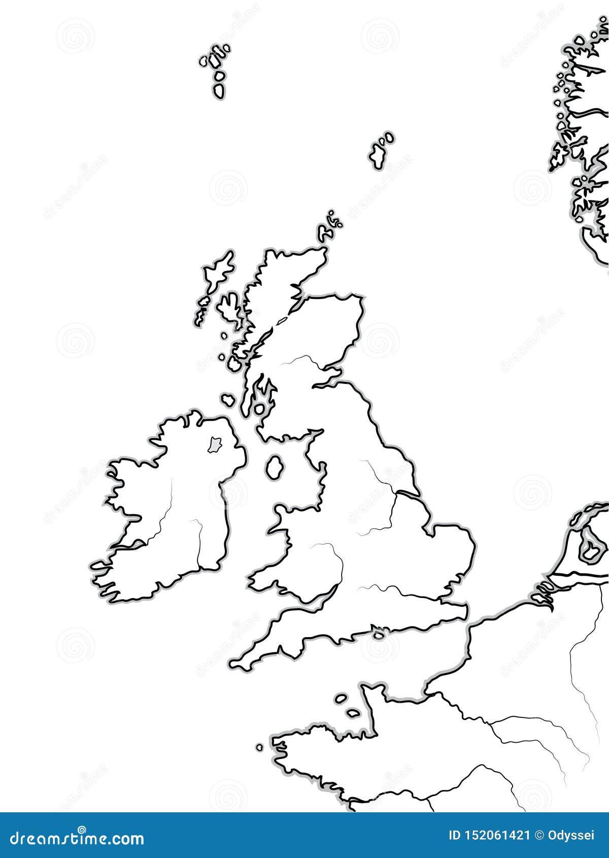 Map Of Uk Coastline.Map Of The English Lands Uk Great Britain England Scotland