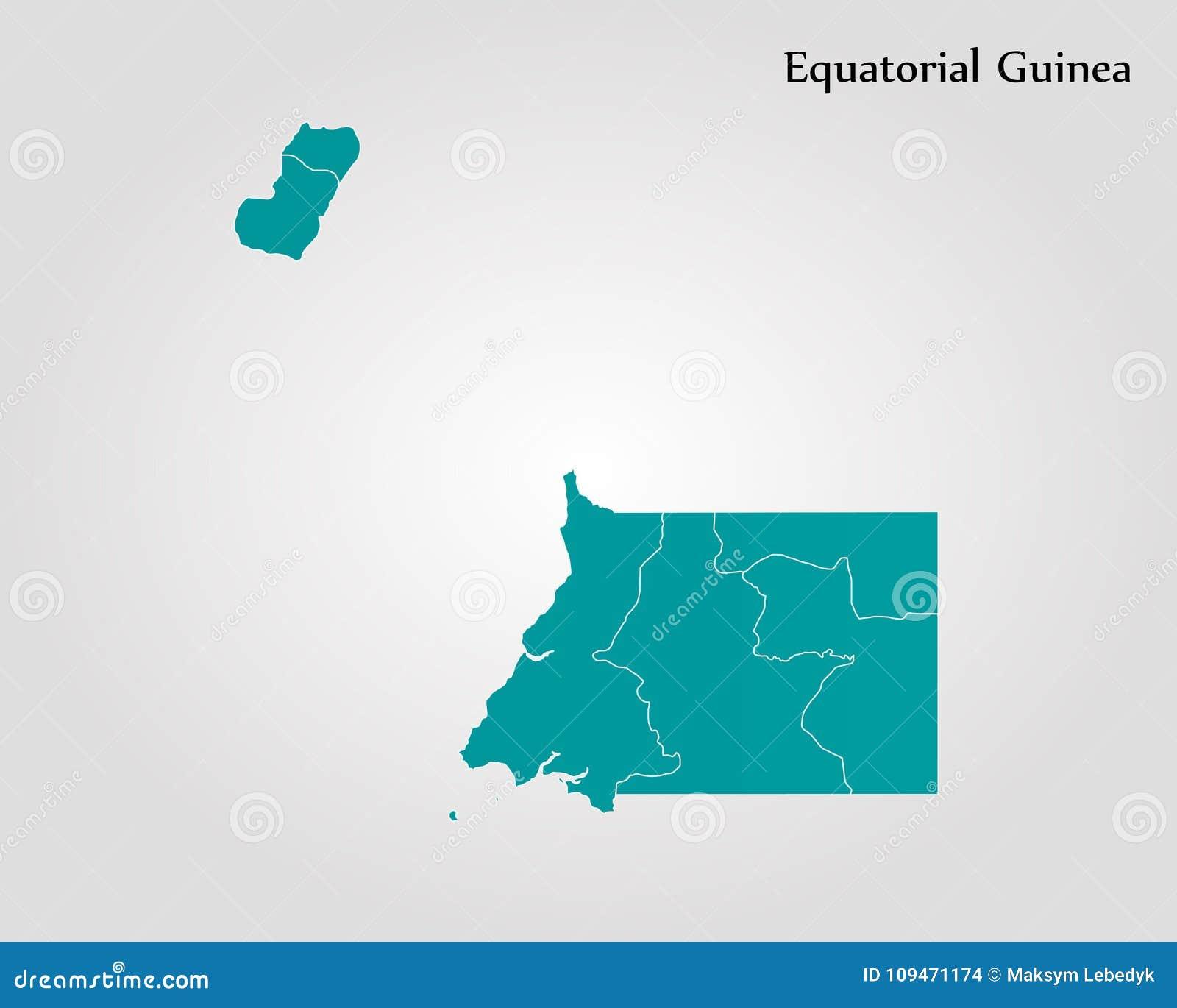 Map of Equatorial Guinea stock illustration. Illustration of ...