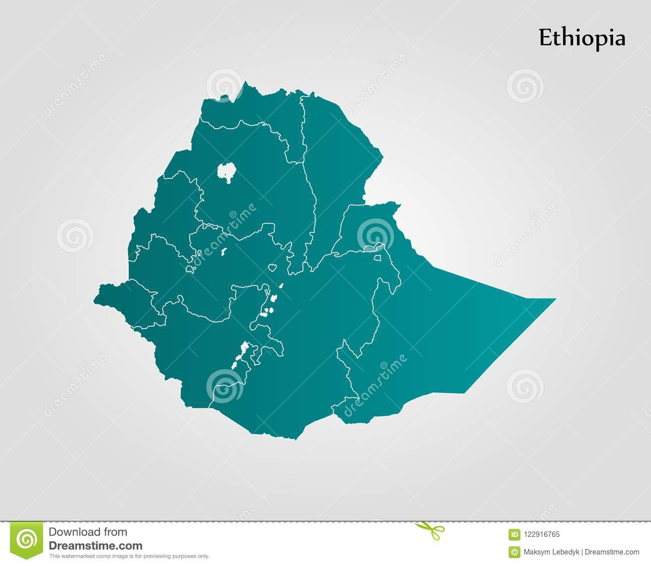 Map of Ethiopia stock illustration. Illustration of africa - 122916765