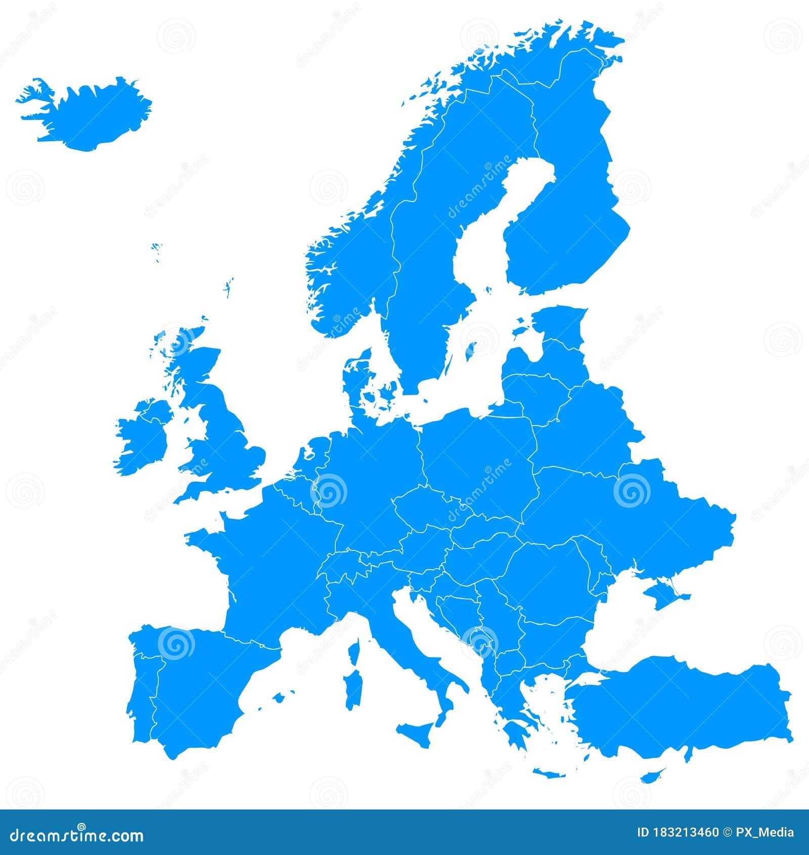 Image of: Blue Map Of Europe Political Borders Stock Illustration Illustration Of Portugal European 183213460
