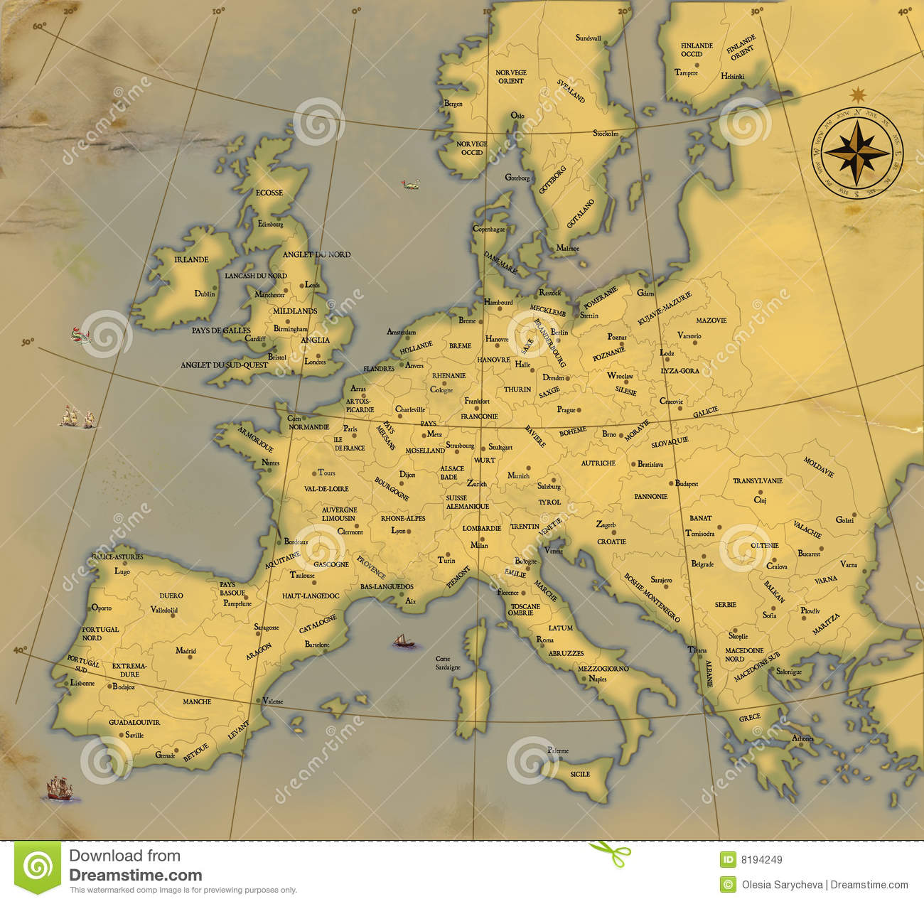 old style map of europe A Map Of Europe Is In Age old Style Stock Illustration